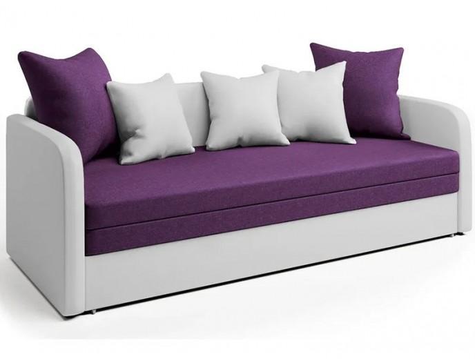"""Софа """"Трио 2"""" рогожка фиолет и экокожа белая"""