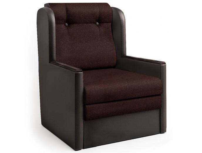 """Кресло-кровать """"Классика"""" Д рогожка и экокожа шоколад"""