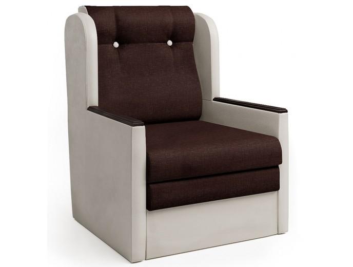 """Кресло-кровать """"Классика"""" Д рогожка шоколад и экокожа беж"""
