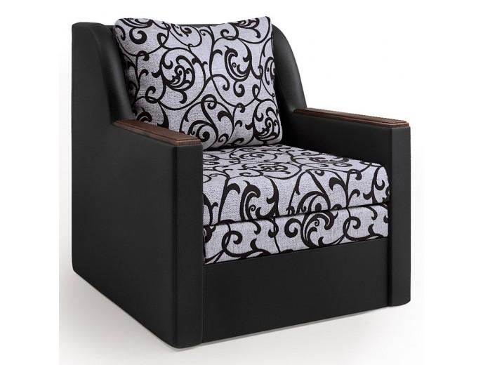 """Кресло-кровать """"Соло"""" шенилл Мальта узор и экокожа черный"""