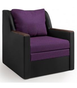 """Кресло-кровать """"Соло"""" рогожка фиолет и экокожа черный"""