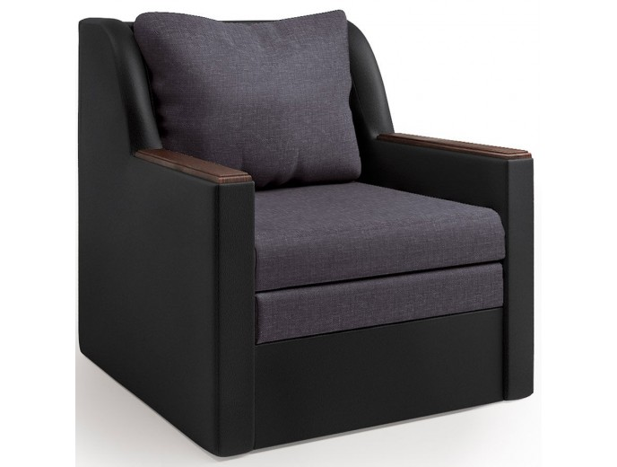 """Кресло-кровать """"Соло"""" рогожка серый и экокожа черный"""