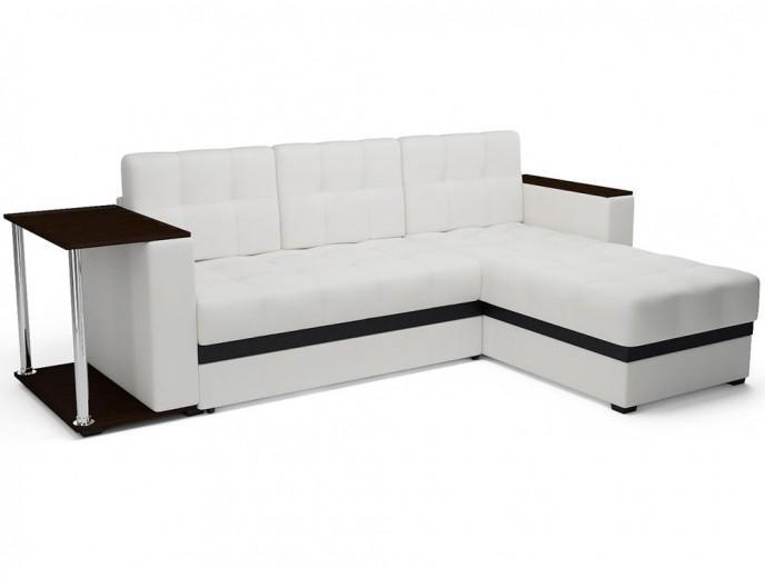 """Угловой диван """"Атлант"""" экокожа белый"""