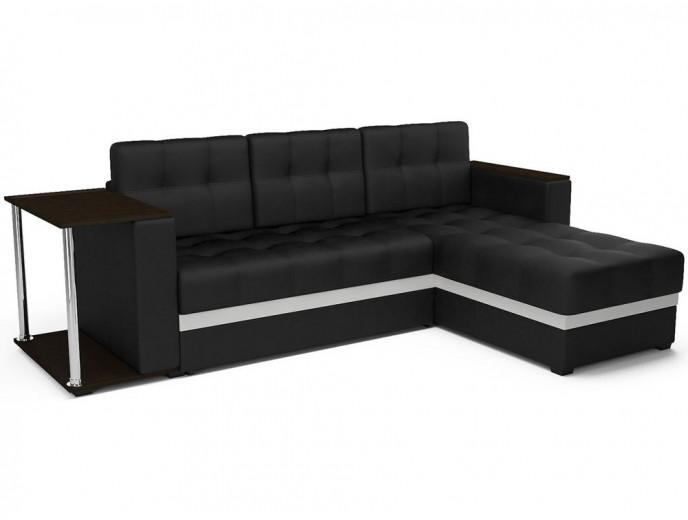 """Угловой диван """"Атлант"""" экокожа черный белый"""