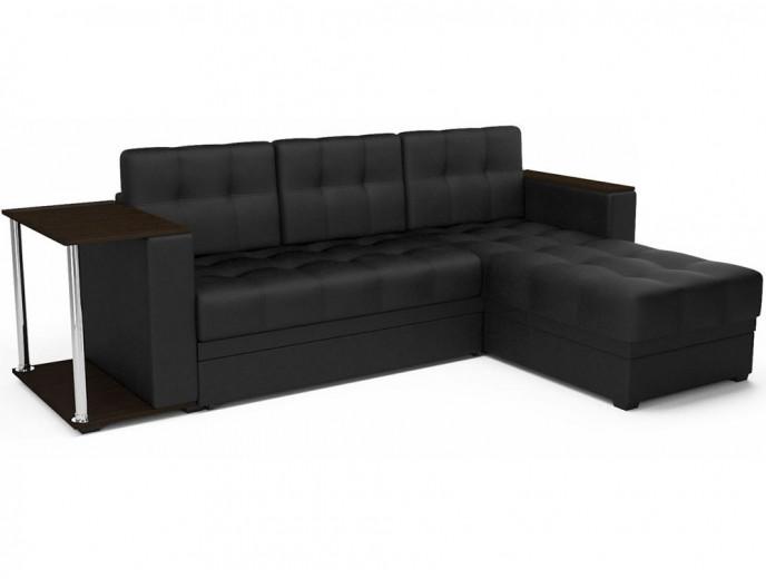 """Угловой диван """"Атлант"""" экокожа черный"""