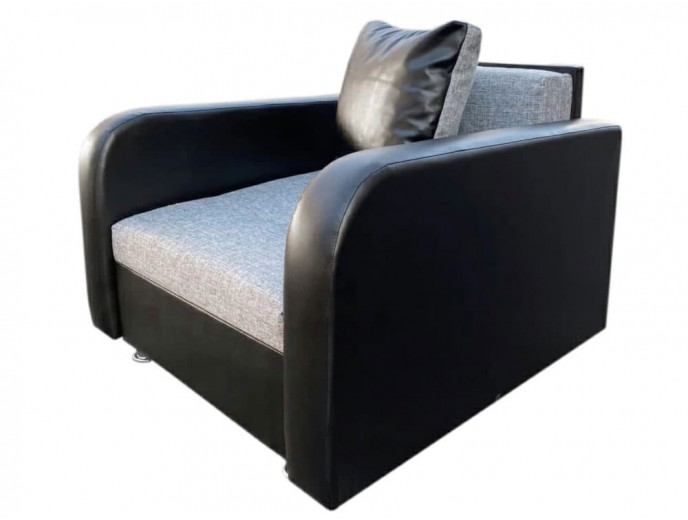 """Кресло-кровать """"Марс"""" серая рогожка черный кожзам"""