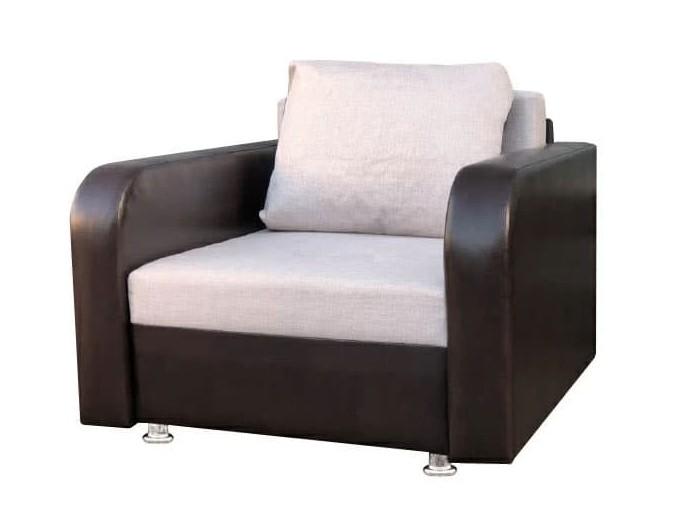 """Кресло-кровать """"Марс"""" бежевая рогожка и коричневый кожзам"""
