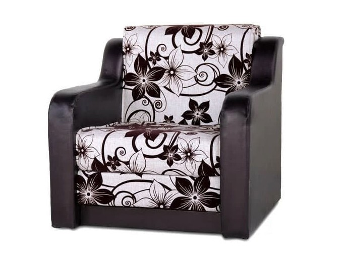 """Кресло-кровать """"Мюнхен"""" бежевая рогожка цветы и кожзам"""