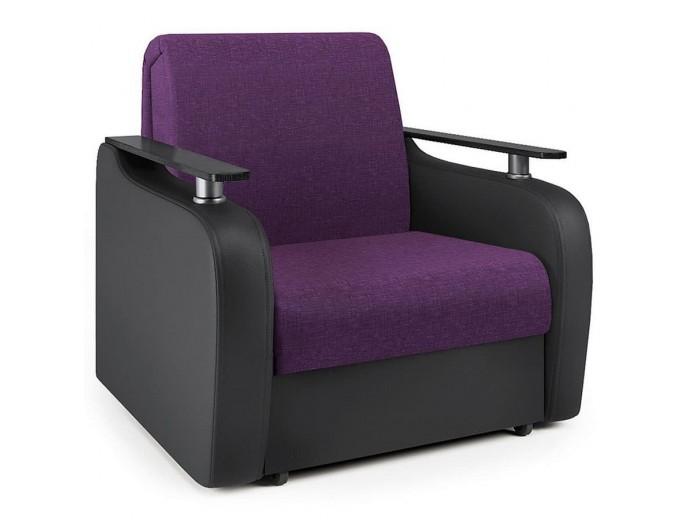 """Кресло-кровать """"Гранд Д"""" рогожка фиолет и экокожа черный"""