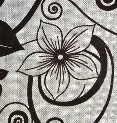 рогожка Цветы бежевый