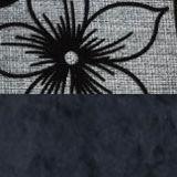 рогожка Цветы и вельвет Черный